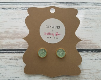 Gold and Crystal Mint Druzy Earring Pair