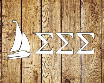 Sigma Sigma Sigma Sailboat Decal - Tri Sigma