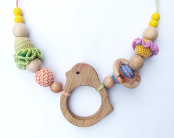 Nursing  necklace Silicone teething necklace Crocheted teething necklace Babywearing necklace Breastfeeding necklace Wooden beaded necklace