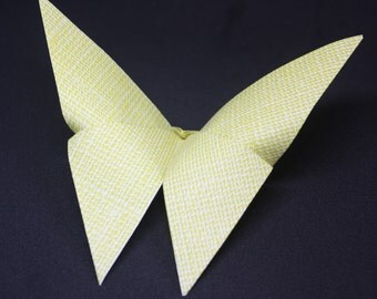 12 Origami Butterflies Yellow Linen