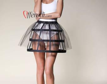 Black Tulle Modern Cage Skirt Festival Fashion