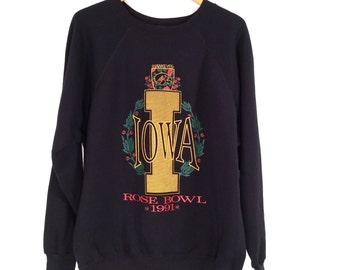 90s Iowa Hawkeyes Sweatshirt. University of Iowa Rose Bowl 1991. Washington Huskies Mark Brunell MVP. Super Soft Ultra Sweats Crew Neck.