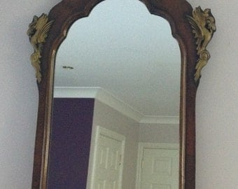 Regency influenced 1920's decorative Flame Mahogany framed Vintage Wall Mirror