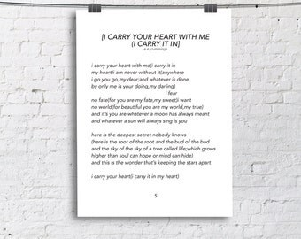 I carry your your heart with me I carry it In E.E. Cummings Quote Print Home Print