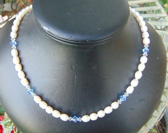 necklace, freshwater, pearls, blue, and clear swarovski, crystals, 19. ins