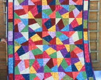 Crazy Patchwork Quilt.Stack n Whack Quilt.Modern. Red Quilt.Rainbow Quilt.Home Decor.Handmade.Blue Quilt.