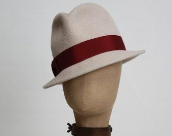 Trilby, Women's Felt Hat, Fedora, Cream, Off White, Burgundy