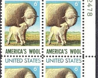 1971 America's Wool Industry Sheep Postage Stamps Unused Block