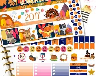 MK03 | November Rain 2017 Stickers | Monthly Planner Kit | Erin Condren Stickers | Thanksgiving Stickers | ECLP | Happy Planner Stickers