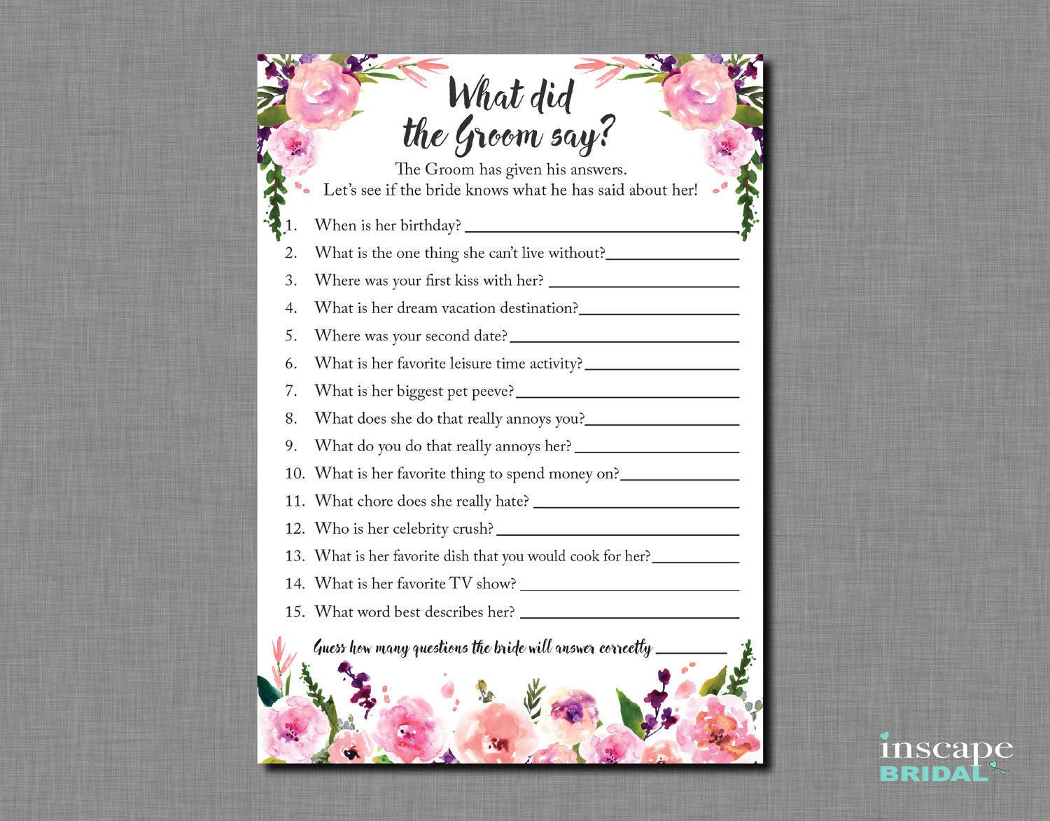 What Did The Groom Say About His Bride Bridal Shower Game