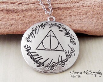 Deathly Hallows Coin Necklace - Antique Silver Jewelry - Harry Potter Inspired Pendant