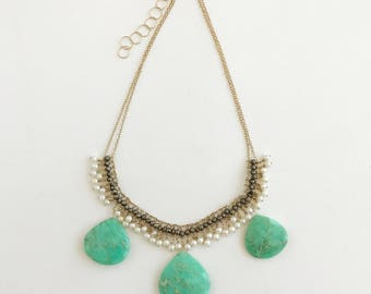 Grecian style Chrysoprase Pyrite Pearl Gold-Filled Necklace