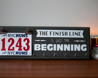 Inspirational Gift - Running Medal Display and Race Bib Hanger - The Finish Line Is Just The Beginning