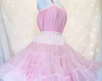 1950s Pink Petticoat & Chemise Set - Vintage Lingerie
