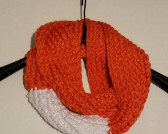Orange and White Infinity Scarf
