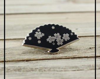 Sakura Fan Pin - Hard Enamel - Black and Gold Pin - Oriental Inspired