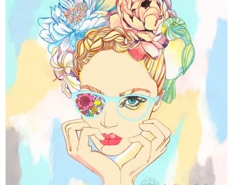Girl Big glasses Flowers Hair braid Peony Lily Parrot Love Pastel tone Poster Art Print Modern Wall art Abstract Room decor Gift Line art