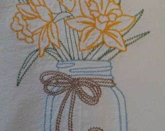 Country style Mason jar and daffodils embroidered dish towels