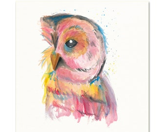 Nature Art. Watercolor Owl Print.