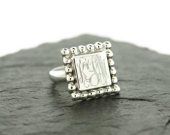 925 Sterling Silver Square Bead Monogram Ring, Large Monogram Ring