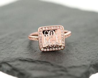 925 Sterling Silver Square CZ Monogram Ring, Gold Monogram Ring, Rose Gold