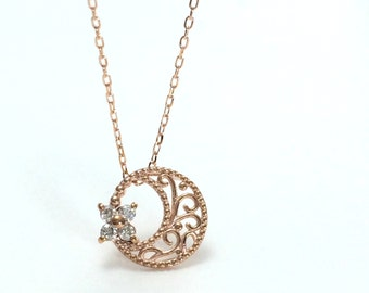 Gold key pendant Dainty diamond necklace symbolic jewelry