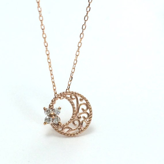 dainty crescent moon necklace solid gold necklace minimal
