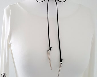 Choker necklace collar cord black silver