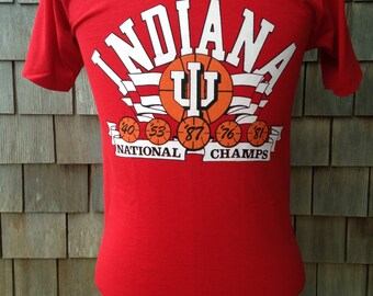 Vintage INDIANA HOOSIERS 1987 National Champs basketball T Shirt by Screen Stars - Small - University Championship