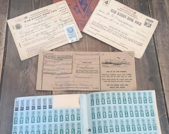 WWII Set of 3 Ration Books and 1 Fuel Ration Book with Stamps