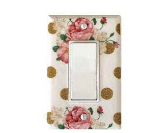 Vintage Flower Light Switch Plate-Bouquet  Nursery Decor- Switch Decora- Gold Polka Dot Outlet  Cover-Girl Room-Living Room Switchplate