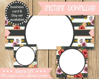 Blank DIY Facebook Set - Flower Stripe - Do It Yourself Blank Facebook Cover - Pink Grey Blank Facebook Set Banner - INSTANT DOWNLOAD
