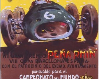 1951 Spanish Grand Prix Motor Racing Poster  A3/A2/A1 Print