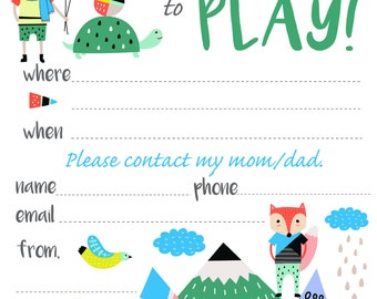 Play Date Invitation Mountains - Instant Download