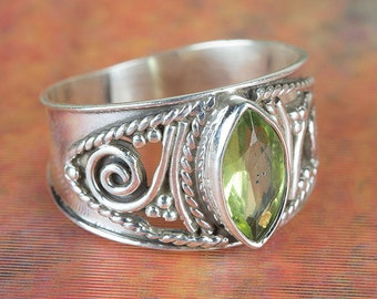 Peridot Ring, August Birthstone, Gypsy Ring, Sterling Silver Ring, Statement Ring, Nickel Free Silver Jewelry, Gift For Her, BJR-429-PRC