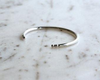 NEW Simple Sterling Silver Cuff, Handmade Silver Bracelet, Minimalist Rattle Snake Cuff, Stackable Bracelet