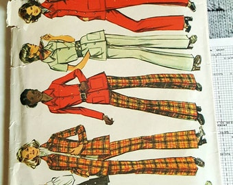 1972 Simplicity 5247 Misses Pants Set Size 16 OR 14.5 CUT Sewing Pattern GrOOvy!