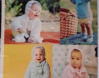 1970 Columbia Minerva Babies Leaflet 2523 Knitting and Crochet Patterns