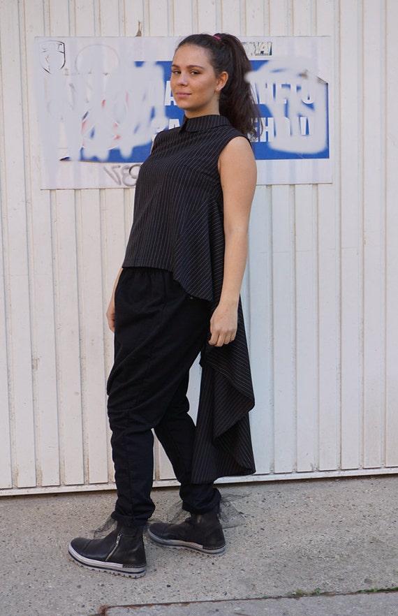 Alternative Sexy Black Asymmetric Tunic, Clubwear, Party Tunic, Office Wear, Flattering Wear, Evening Tank Top