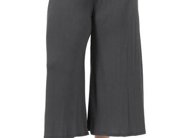 Elastic Waist Wide Leg Crop Culottes Pants Plus Size Cement