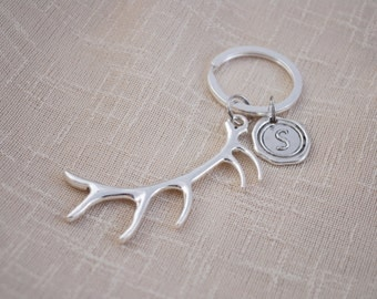 ANTLERS keyring, FREE SHIPPING, animal keychain, deer keychain, hunting keychain, personalised silver keyring, Initial Key chain