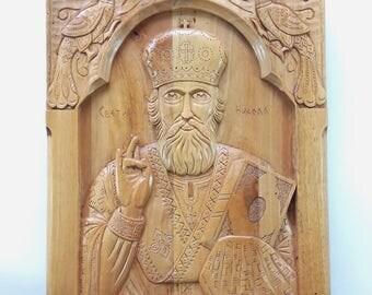 Byzantine Icon Religious Wall Art Religious Icon Wood Carved Wall Art Saint Nicholas Christian Iconography Christian Wall Art