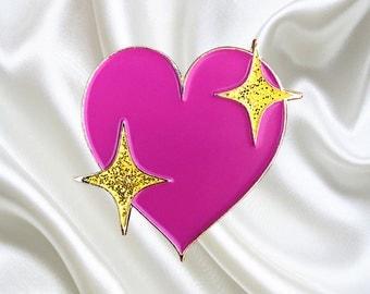 Heart Emoji w/ Glitter Sparkles- Soft Enamel Pin - Emoji