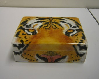 Tiger, hand painted on a bone china trinket box