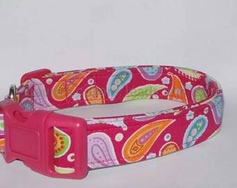 Handmade pink paisley fabric dog collar , dog collar  , girl dog collar , adjustable , small , medium , large , paisley print