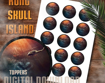 Kong Skull Island, Cupcake toppers, Party Decor, Birthday, Movie