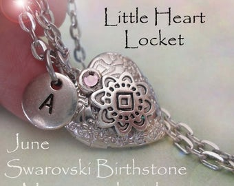 Little Heart Locket June Birthday Personalized with Swarovski Birthstone and Letter Charm, June Birthday Gift, June Birthstone Locket