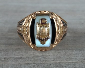 CLEARANCE Yellow gold onyx and mother of pearl class ring Cooley HS 1945