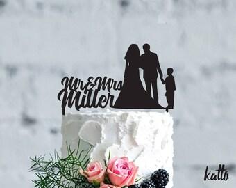 Family Wedding cake topper, Wedding Cake Topper Family Silhouette, Bride, Groom and children Family Cake Topper wood, wedding Gift