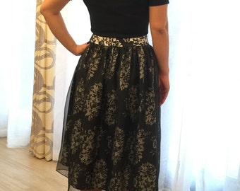 Tea Length Black and White Floral Chiffon Skirt